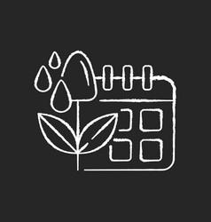 Irrigation scheduling chalk white icon on black vector