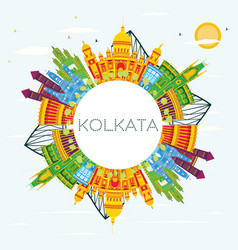 kolkata india skyline with color buildings blue vector image