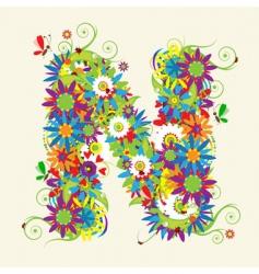 letter N floral design vector image