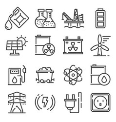 line energy electricity power icons set vector image