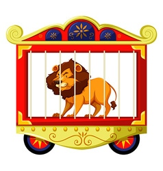 Lion in circus cage vector image