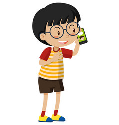 Little boy talking on cell phone vector