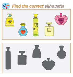 logical task find the correct silhouette game vector image