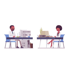 Male and female black scientist working at desk vector