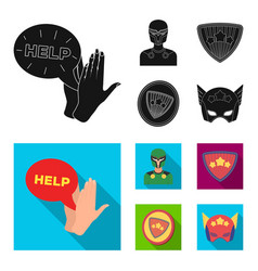Man mask cloak and other web icon in blackflat vector