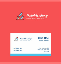 microscope logo design with business card vector image