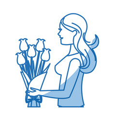 Mother woman flower bouquet celebration shadow vector
