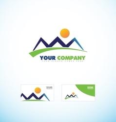 Mountain tourism agency logo icon shape vector