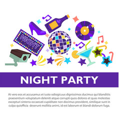 night party promotional poster with attributes to vector image