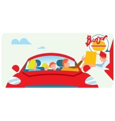Orders fast food from the car vector