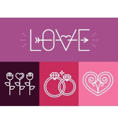 outline love signs and logos vector image