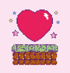 pixelated videogame heart item vector image