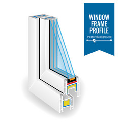 plastic profile energy saving window three vector image
