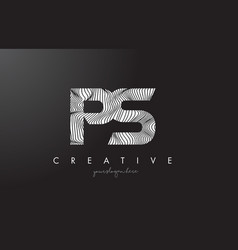 Ps p s letter logo with zebra lines texture vector