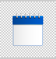 realistic calendar blue on transparent background vector image