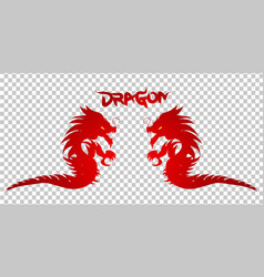 red dragon silhouette on transparent background vector image