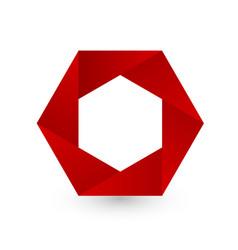 Red hexagon shape logo icon vector