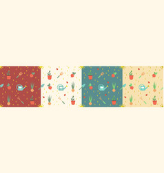 Seamless gardening pattern set with farm tools vector