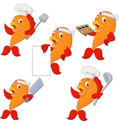 set chef fish cartoon vector image