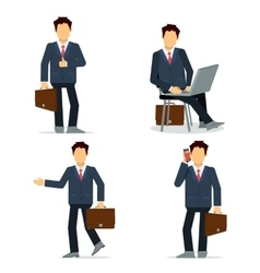 Set of businessmen character in black suit vector image