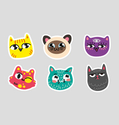 set of cat emoji dotted lines on gray background vector image