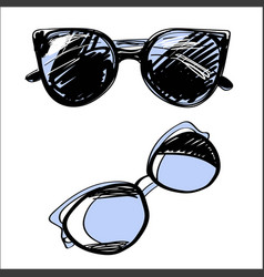 set of eyeglasses and sunglasses fashion vintage vector image