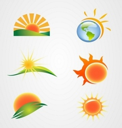 set of the sun symbol icon vector image