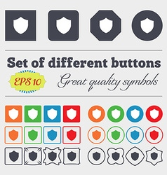 Shield Protection icon sign Big set of colorful vector