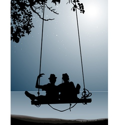Silhouette of couple of friends on a swing vector