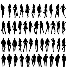 Silhouettes of happy young women and men vector image