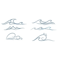 simple waves set vector image