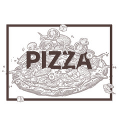 sketch food poster with pizza vector image