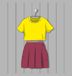 skirt with blouse hanging on a hanger against the vector image
