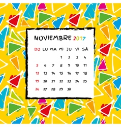 Spanish Calendar 2017 template vector