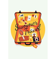 Summer Travel on an Open Suitcase vector image