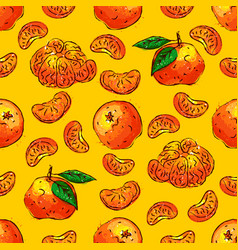 Tangerines fruit seamless pattern citrus fruits vector