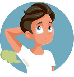 Teenage boy sweating having smelly armpits vector