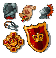 the attributes of a medieval knight isolated on vector image