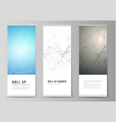 the layout of roll up banner stands vector image