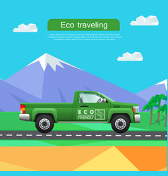 transport green pickup on road near mountains vector image