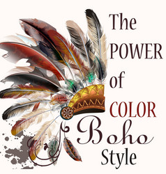 tribal design in boho style headdress vector image