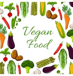 Vegan vegetables food poster vector