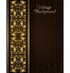 Vintage background with gold filigree border vector