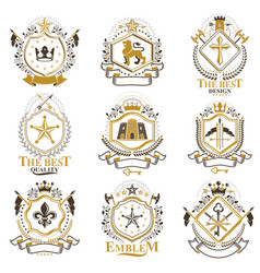 Vintage decorative heraldic emblems composed with vector