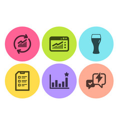 web traffic efficacy and update data icons set vector image