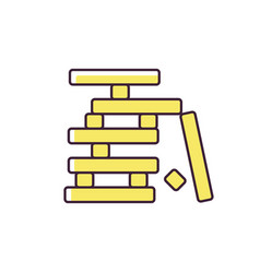 Wooden blocks game rgb color icon vector