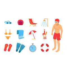 Young man surrounded with swimming equipment icon vector