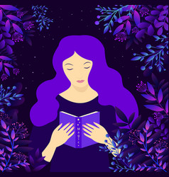 young witch girl with purple hair surrounded by vector image