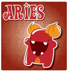 Zodiac sign Aries with cute colorful monster vector