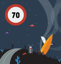 Alien speed limit sign and crash of a flying sauce vector
